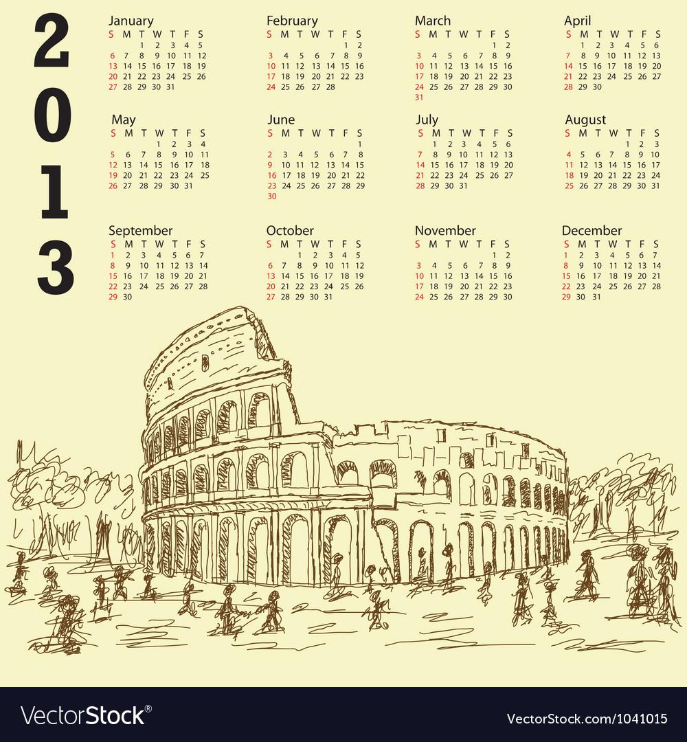 Rome colosseum vintage 2013 calendar vector | Price: 1 Credit (USD $1)