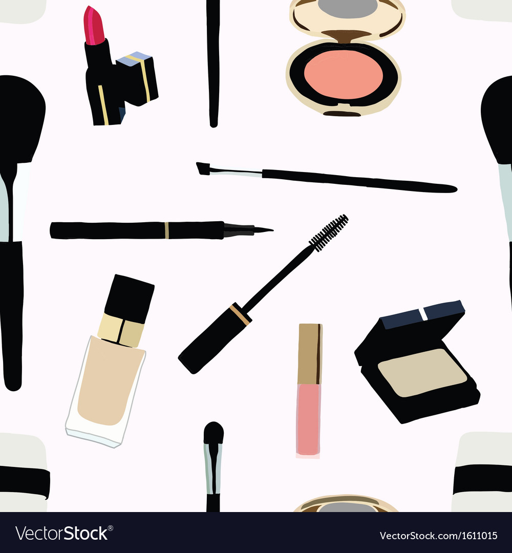 Seamless makeup and cosmetics vector | Price: 1 Credit (USD $1)