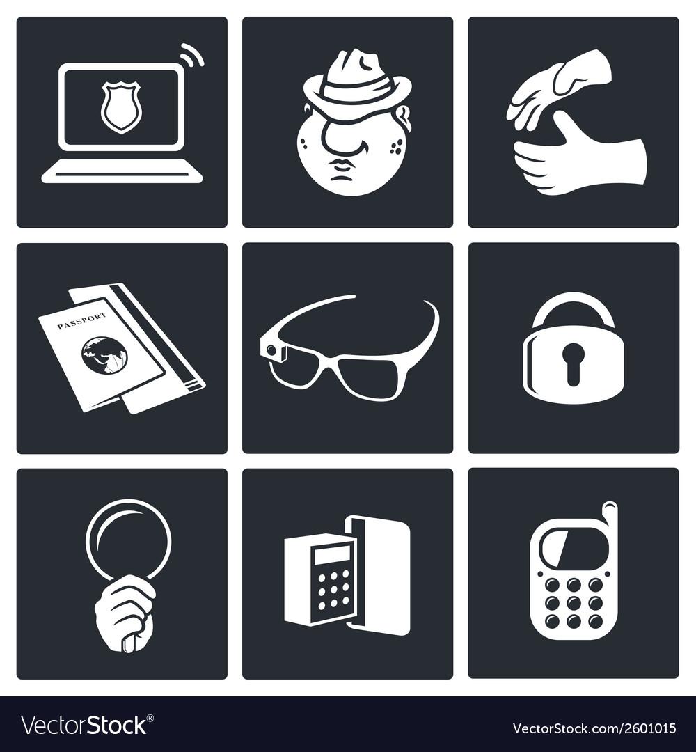 Spying icon set vector | Price: 1 Credit (USD $1)