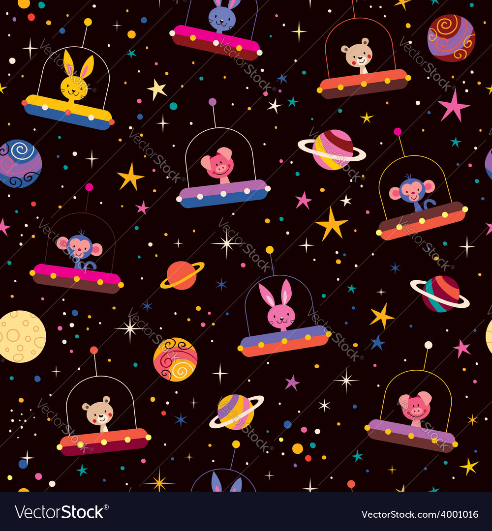 Cute animals in space kids pattern vector | Price: 1 Credit (USD $1)