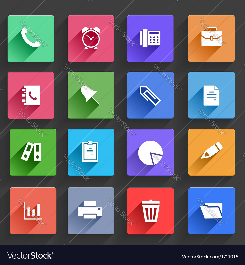 Flat application icons set vector | Price: 1 Credit (USD $1)