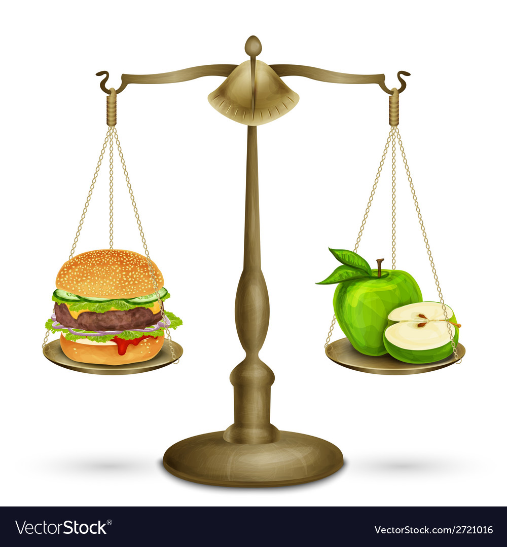 Hamburger and apple on scales vector | Price: 1 Credit (USD $1)