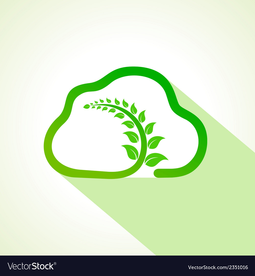 Leaf inside the eco cloud vector | Price: 1 Credit (USD $1)