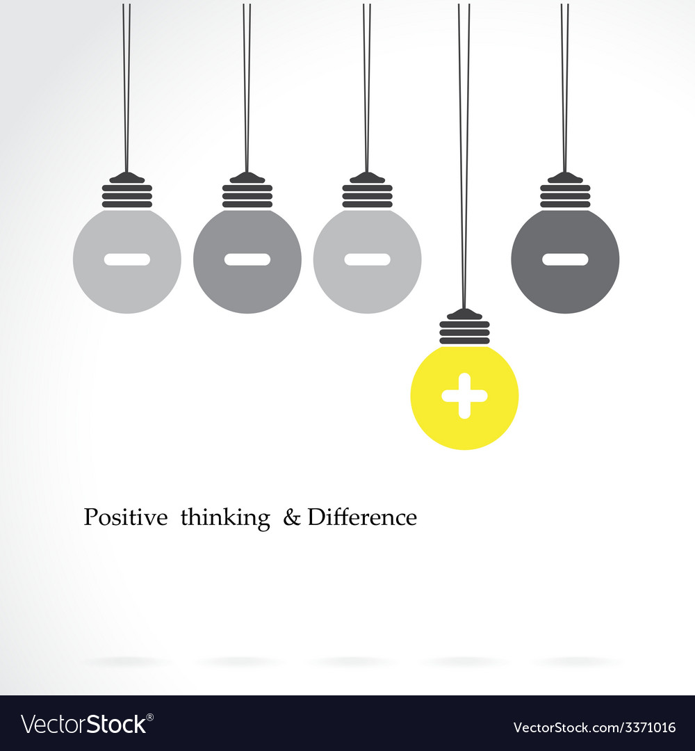 Light bulb with positive thinking vector | Price: 1 Credit (USD $1)