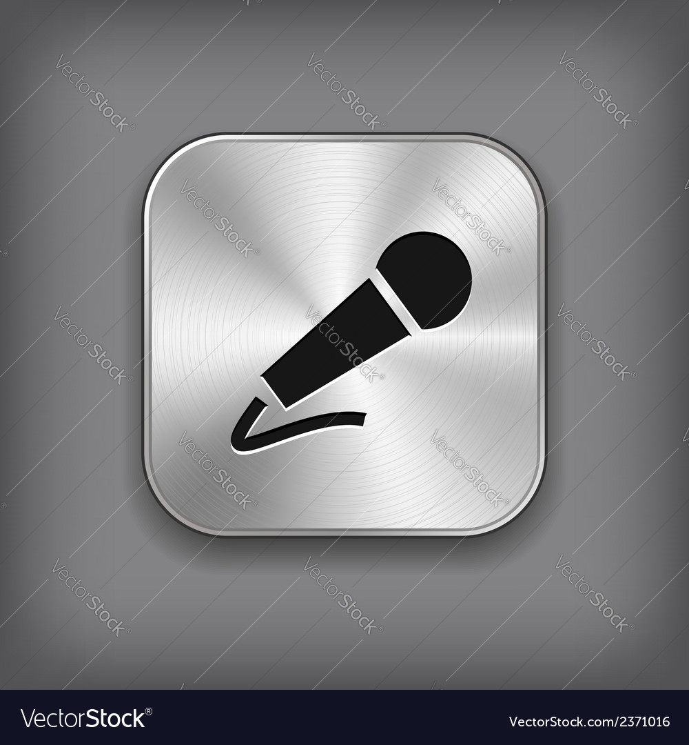 Microphone icon - metal app button vector | Price: 1 Credit (USD $1)