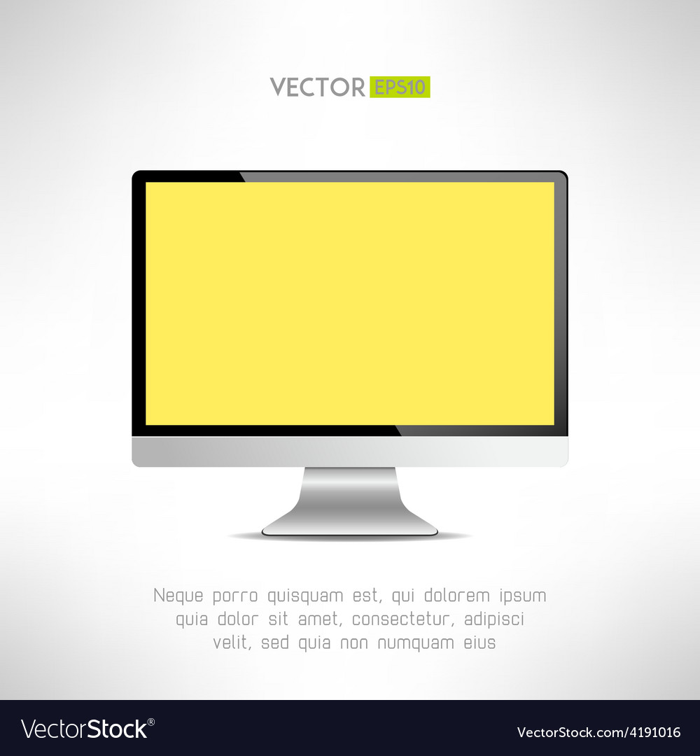 Realictic lcd monitor computer display tv screen vector | Price: 1 Credit (USD $1)