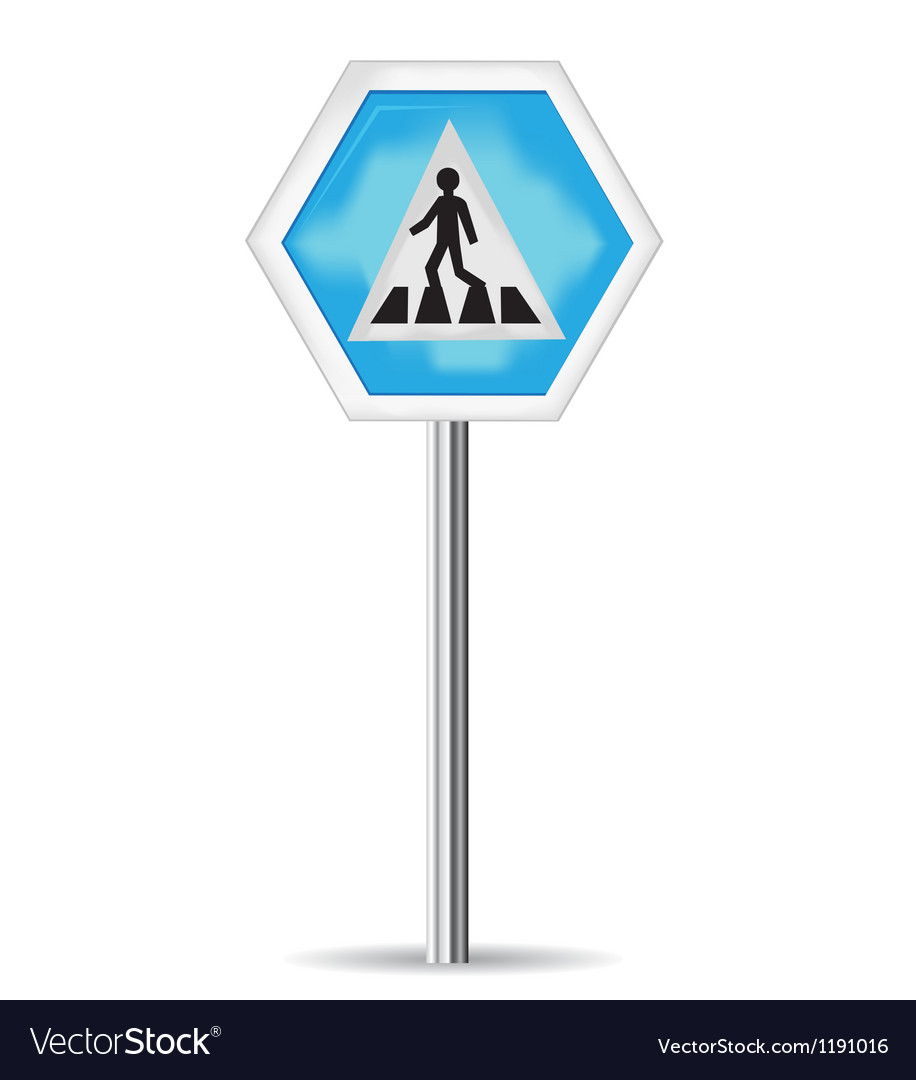 Road sign pedestrian crossing vector | Price: 1 Credit (USD $1)