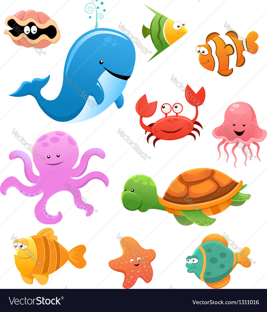 Sea animals vector | Price: 1 Credit (USD $1)