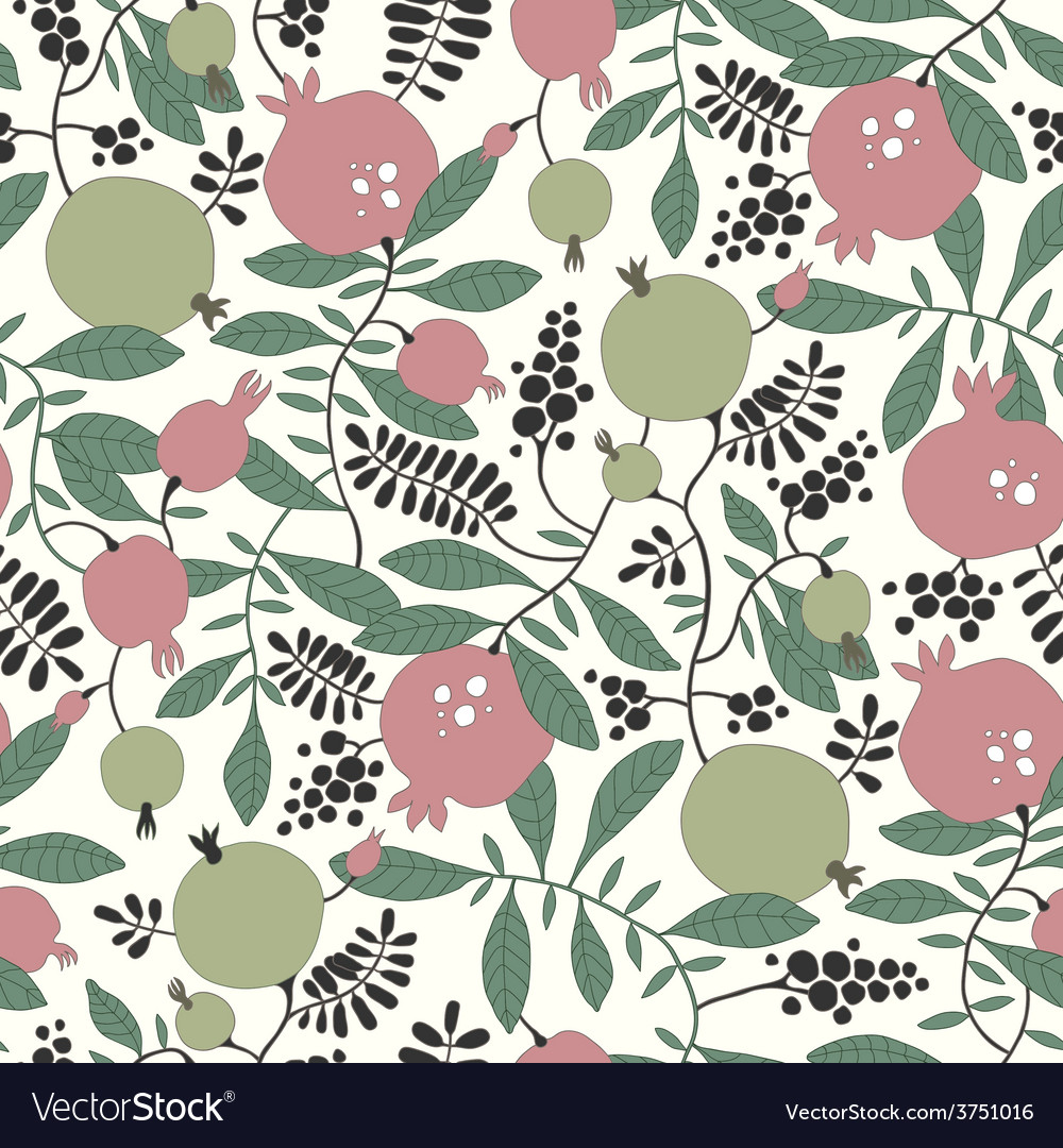 Seamless pattern of pomegranate and apple tree vector   Price: 1 Credit (USD $1)