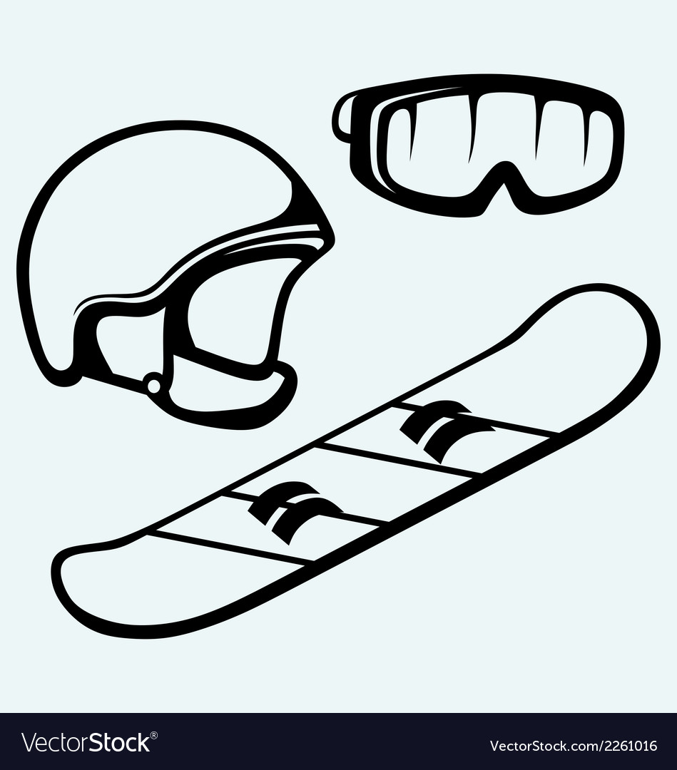 Set equipment for snowboarding vector | Price: 1 Credit (USD $1)