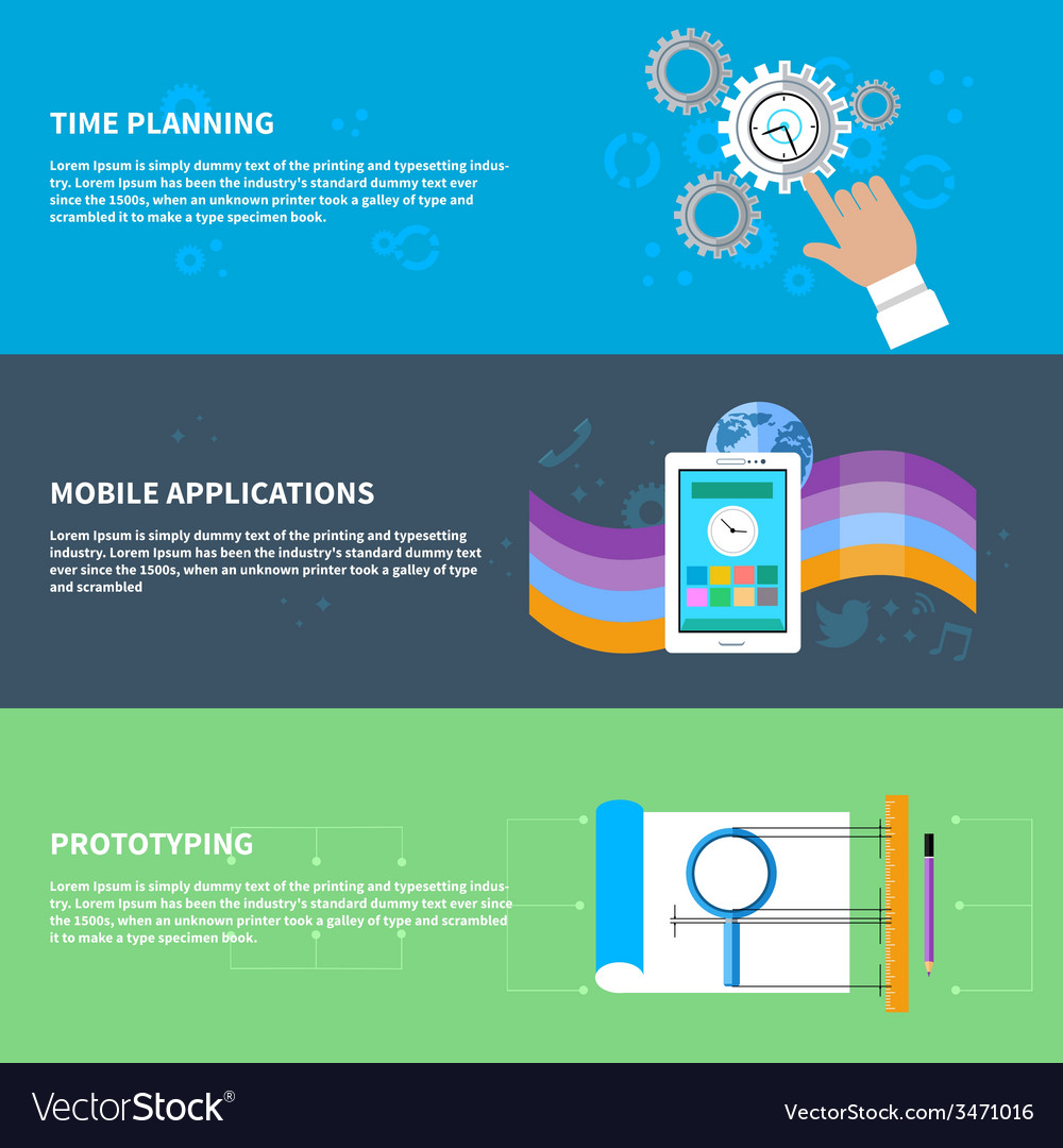 Time planning mobile app prototyping concept set vector | Price: 1 Credit (USD $1)
