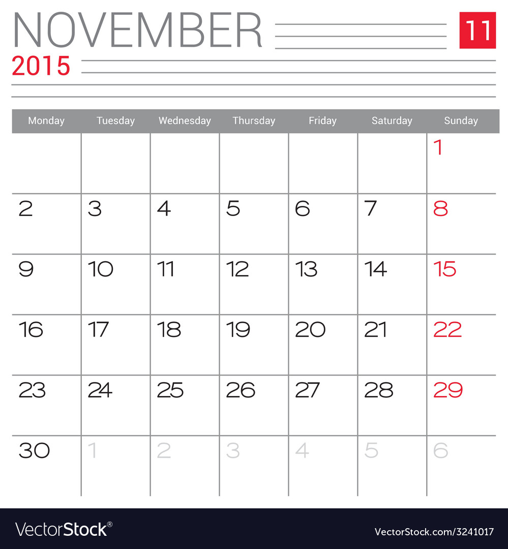 2015 november calendar page vector | Price: 1 Credit (USD $1)