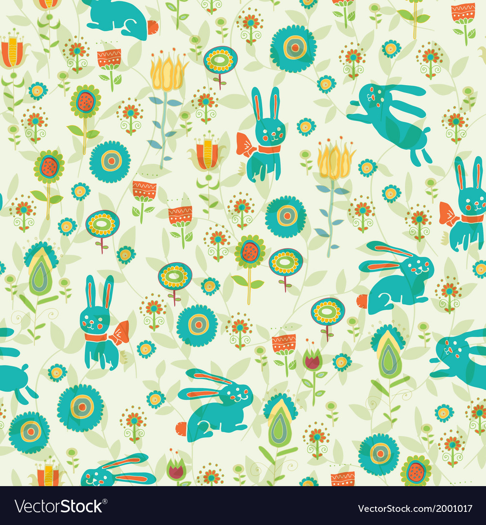 Background with easter bunnies and eggs vector | Price: 1 Credit (USD $1)