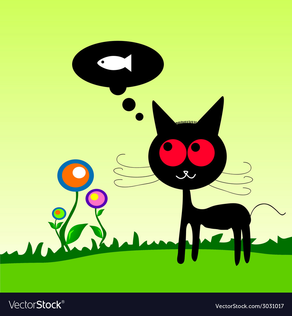 Cat dreem fish on the meadow vector   Price: 1 Credit (USD $1)