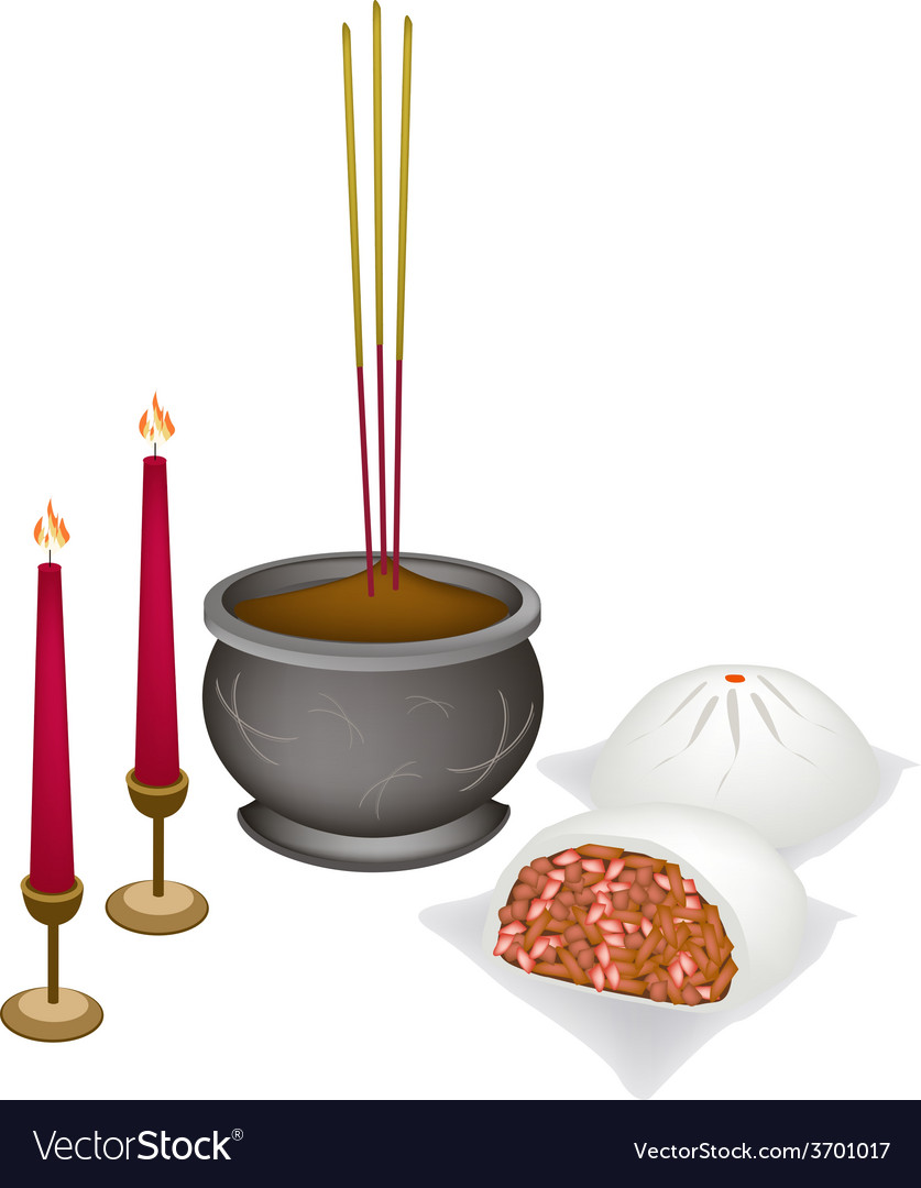 Chinese nikuman with candle and joss stick vector | Price: 1 Credit (USD $1)