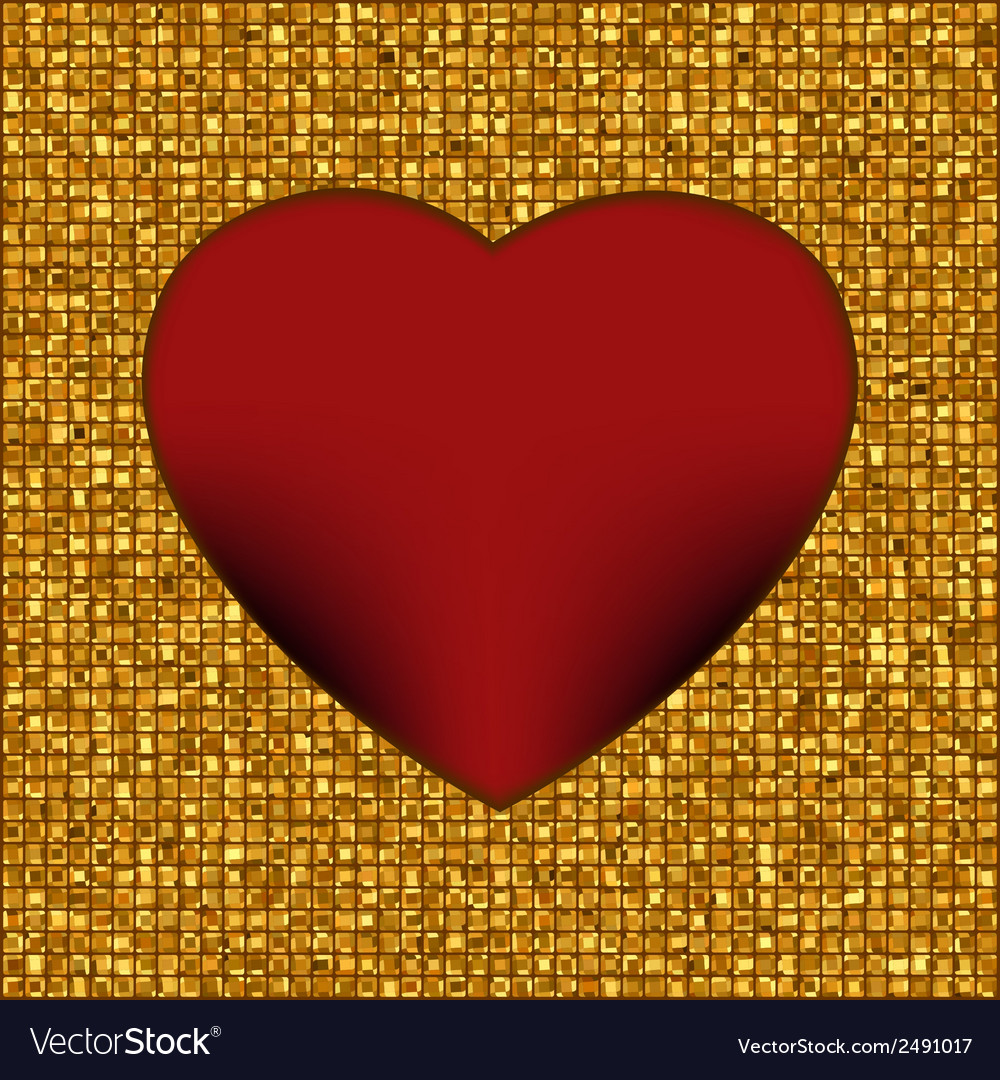 Gold frame in the shape of heart eps 8 vector | Price: 1 Credit (USD $1)