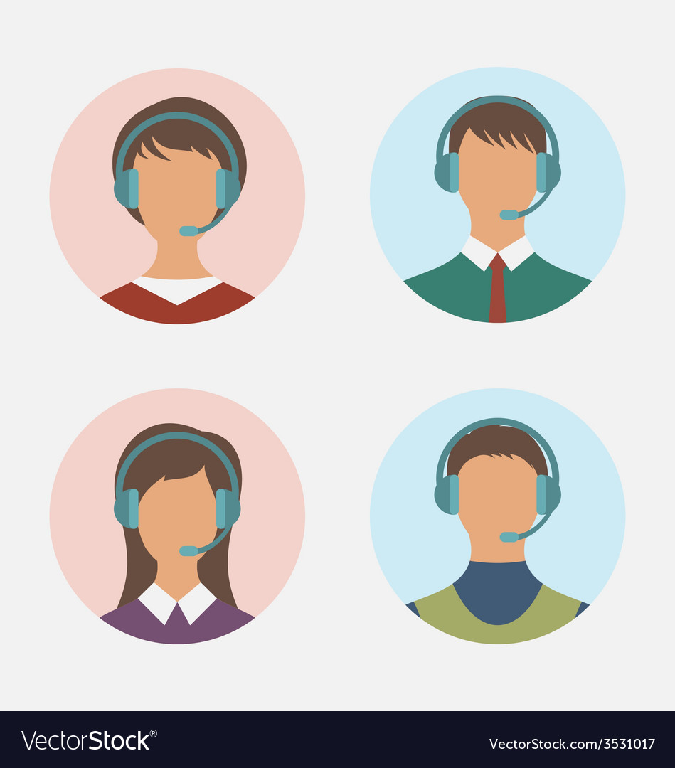 Icons of call center operator with man and woman vector | Price: 1 Credit (USD $1)