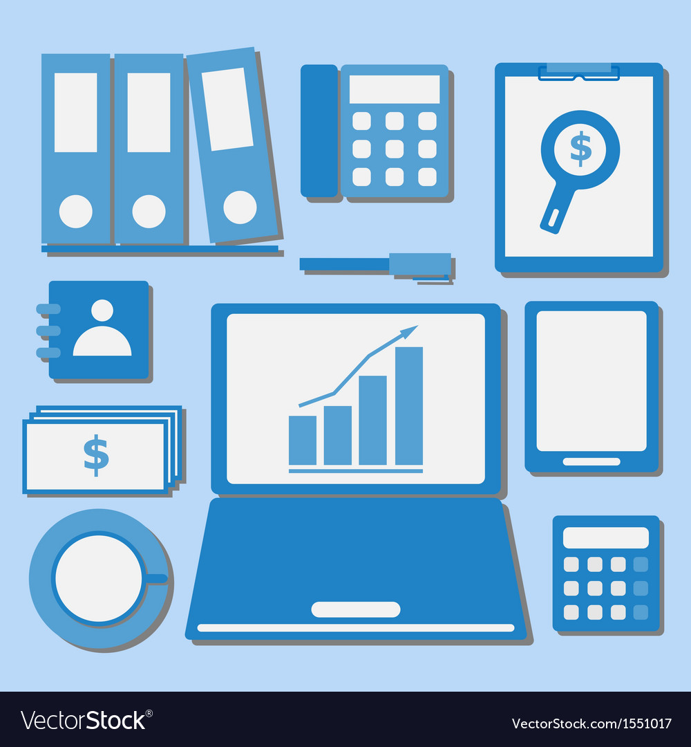 Internet investor at home office color icons vector | Price: 1 Credit (USD $1)