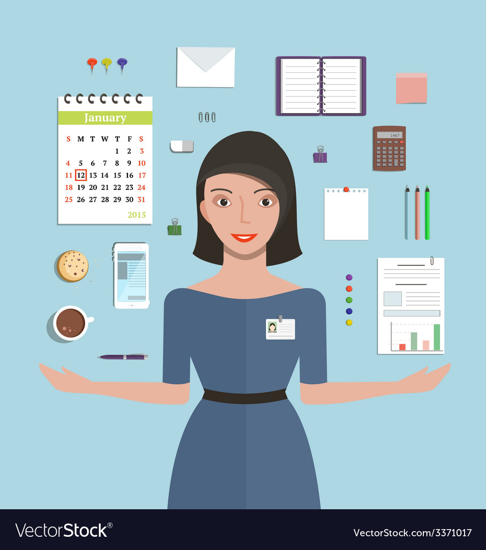 Office manager woman working and supplies objects vector | Price: 1 Credit (USD $1)