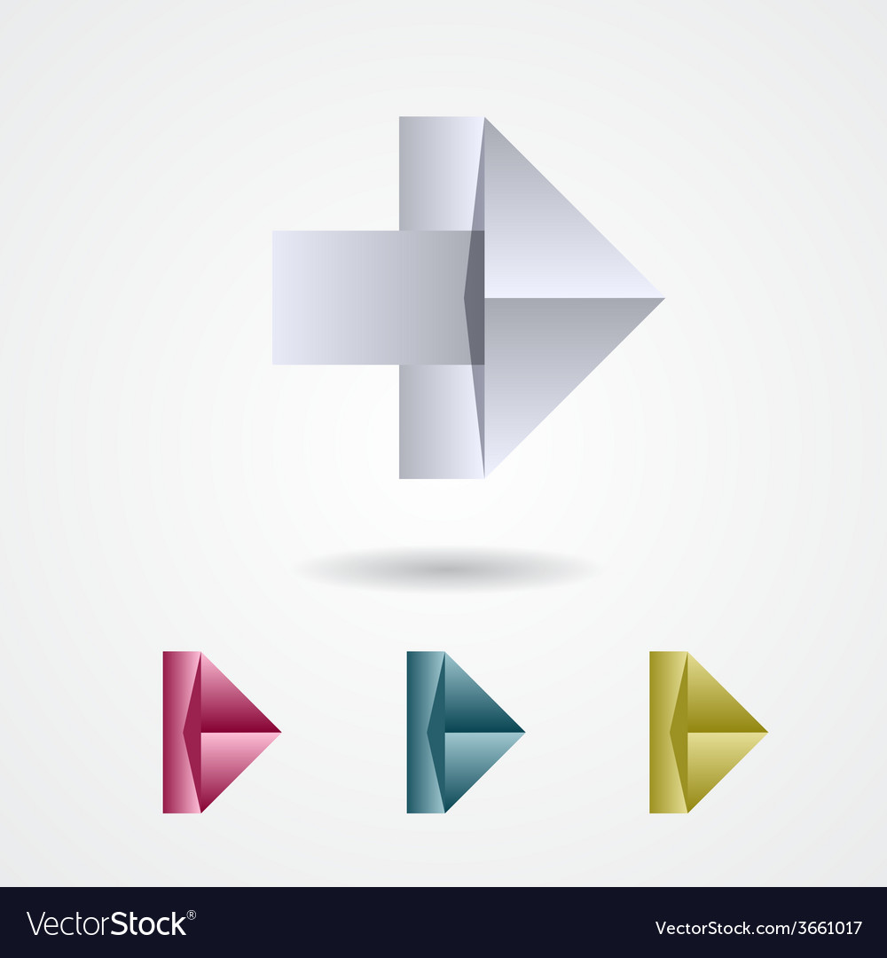 Origami arrow sign on a white background vector | Price: 1 Credit (USD $1)
