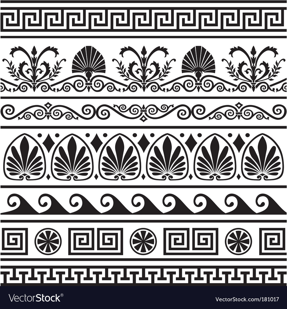 Set of antique greek borders vector | Price: 1 Credit (USD $1)