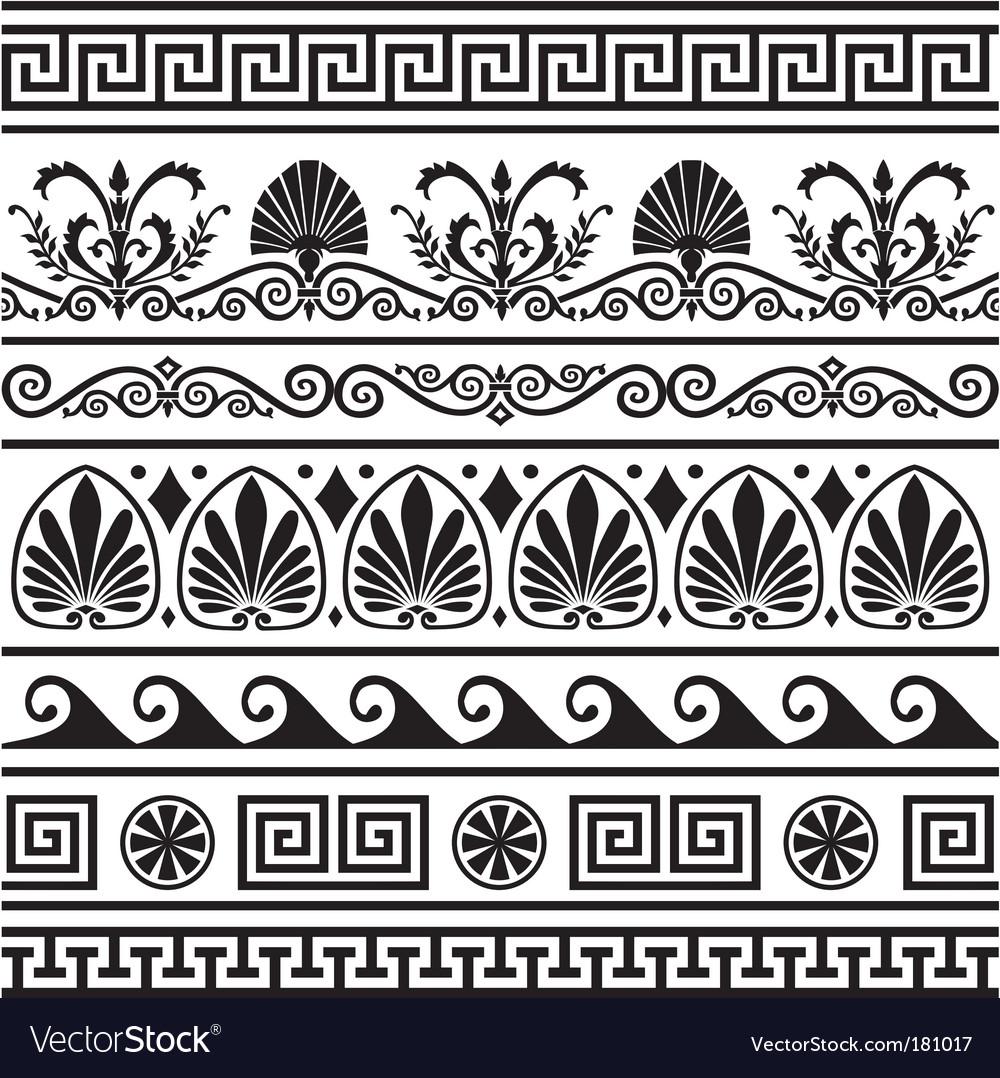 Set of antique greek borders vector | Price: 1 Credit (USD $1)