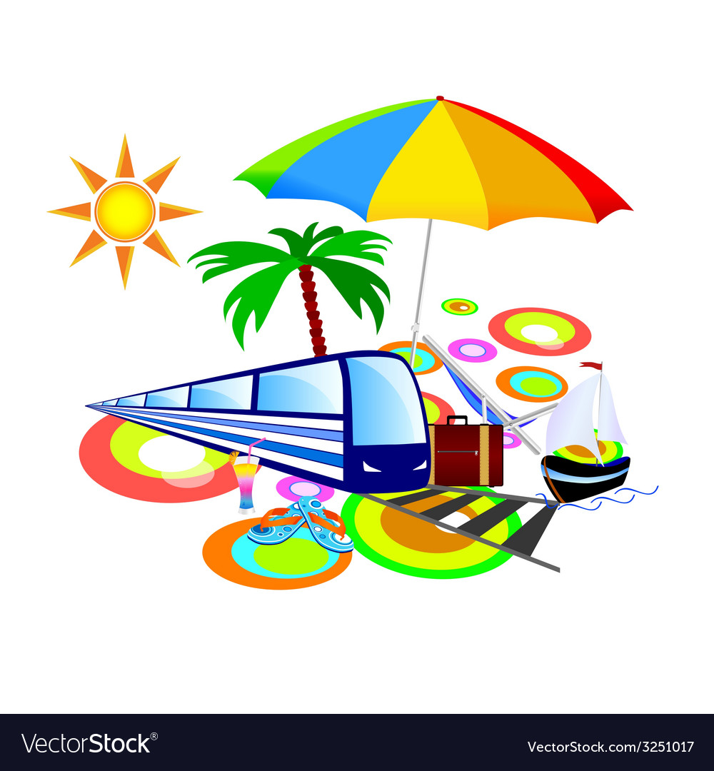Stuff with palm and umbrella vector | Price: 1 Credit (USD $1)