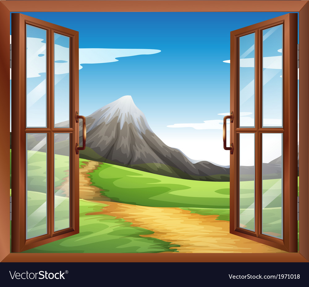 An open window across the mountain vector | Price: 1 Credit (USD $1)