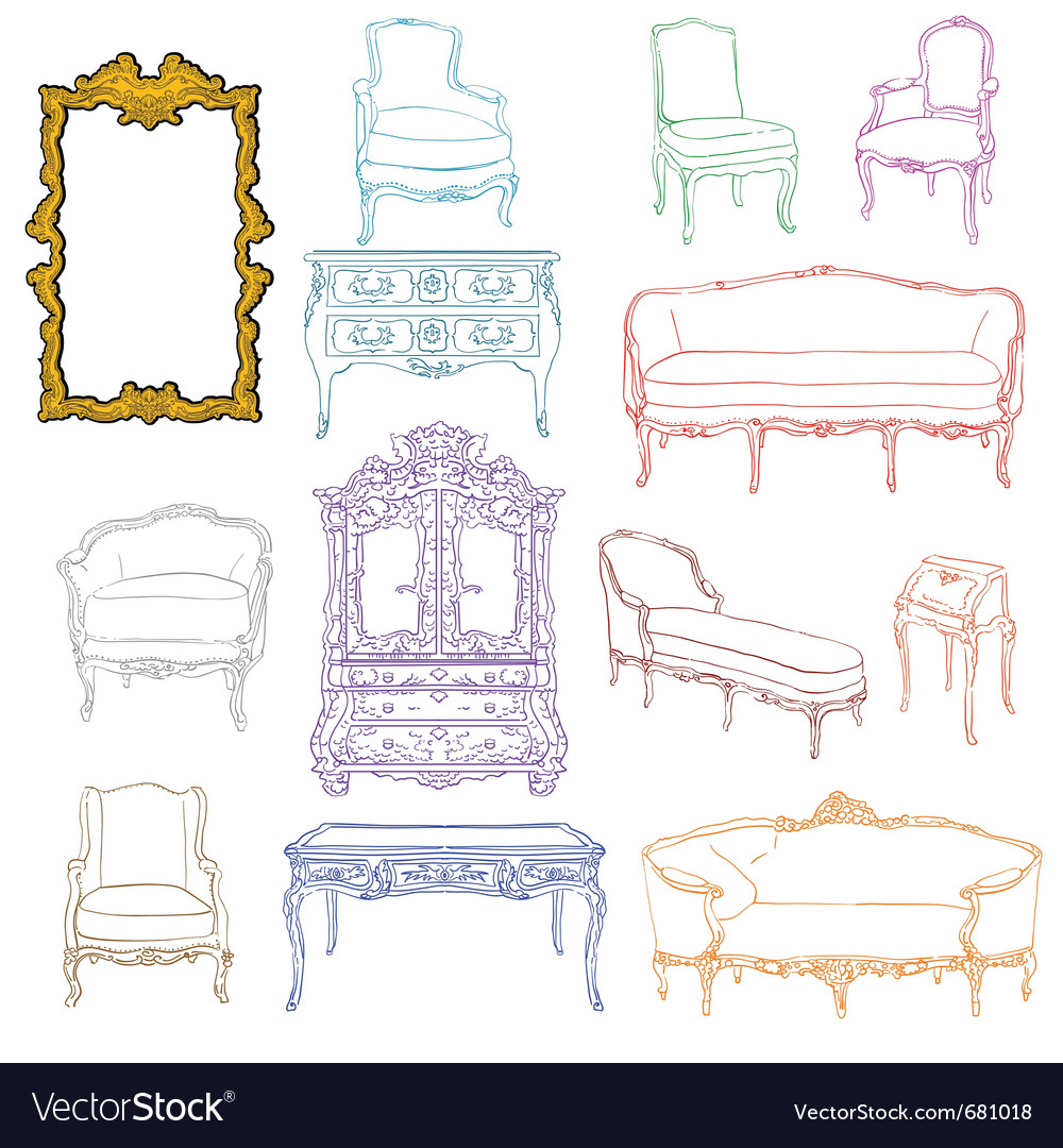 Authentic rococo furniture vector | Price: 1 Credit (USD $1)