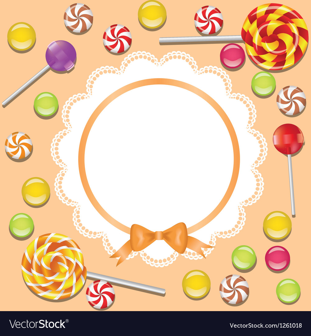 Background with candies frame vector | Price: 1 Credit (USD $1)
