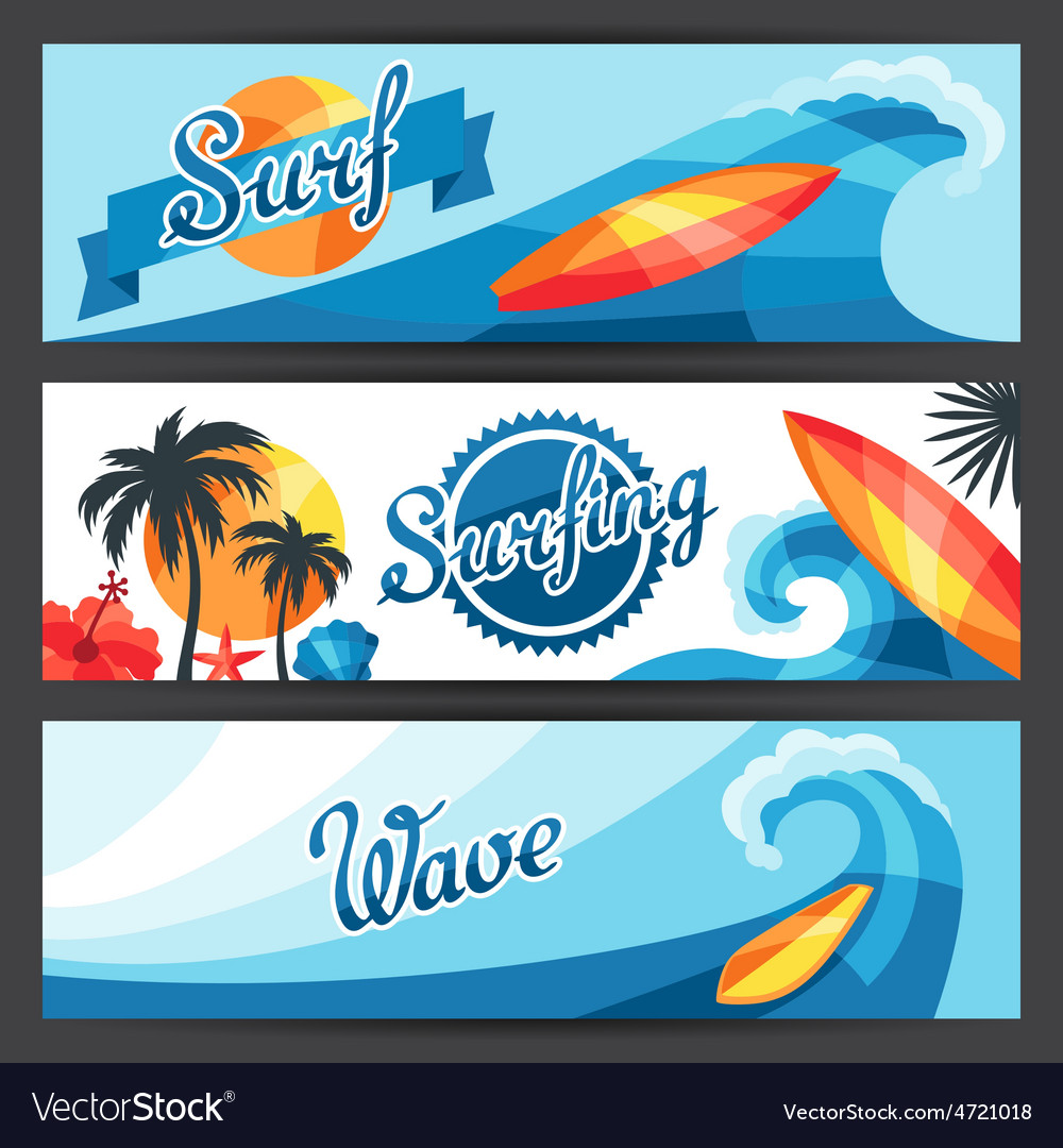 Banners with surfing design elements and objects vector | Price: 1 Credit (USD $1)