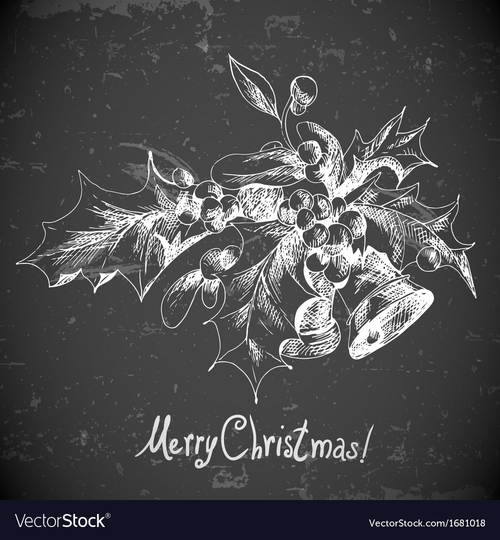 Christmas holly and bell elements for retro design vector | Price: 1 Credit (USD $1)