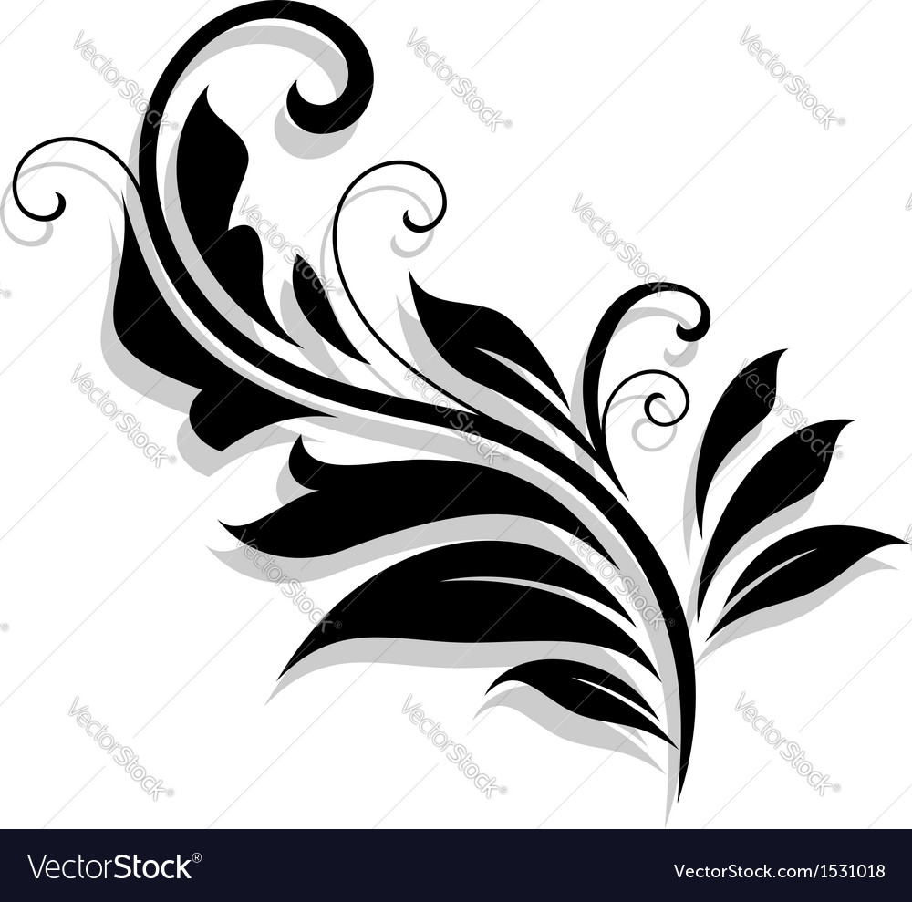 Decorative floral design element vector | Price: 1 Credit (USD $1)