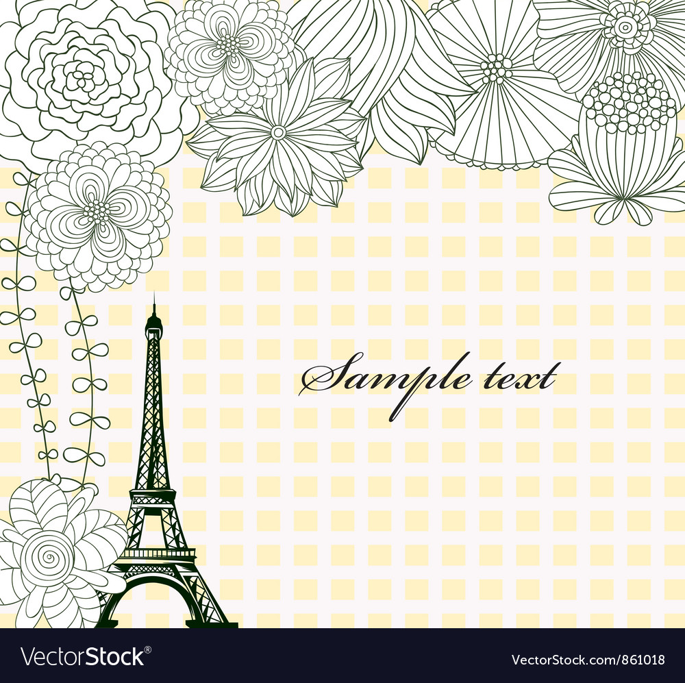 Eiffel tower with floral vector | Price: 1 Credit (USD $1)