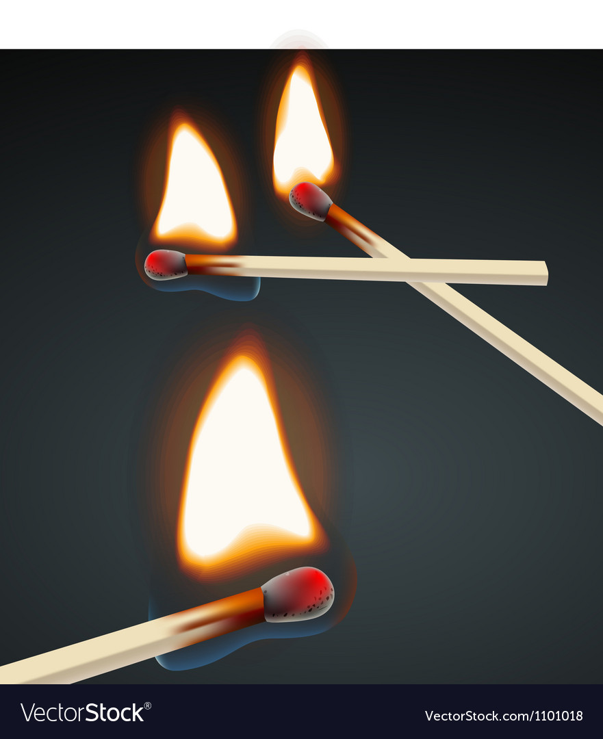Flaming match set vector | Price: 1 Credit (USD $1)