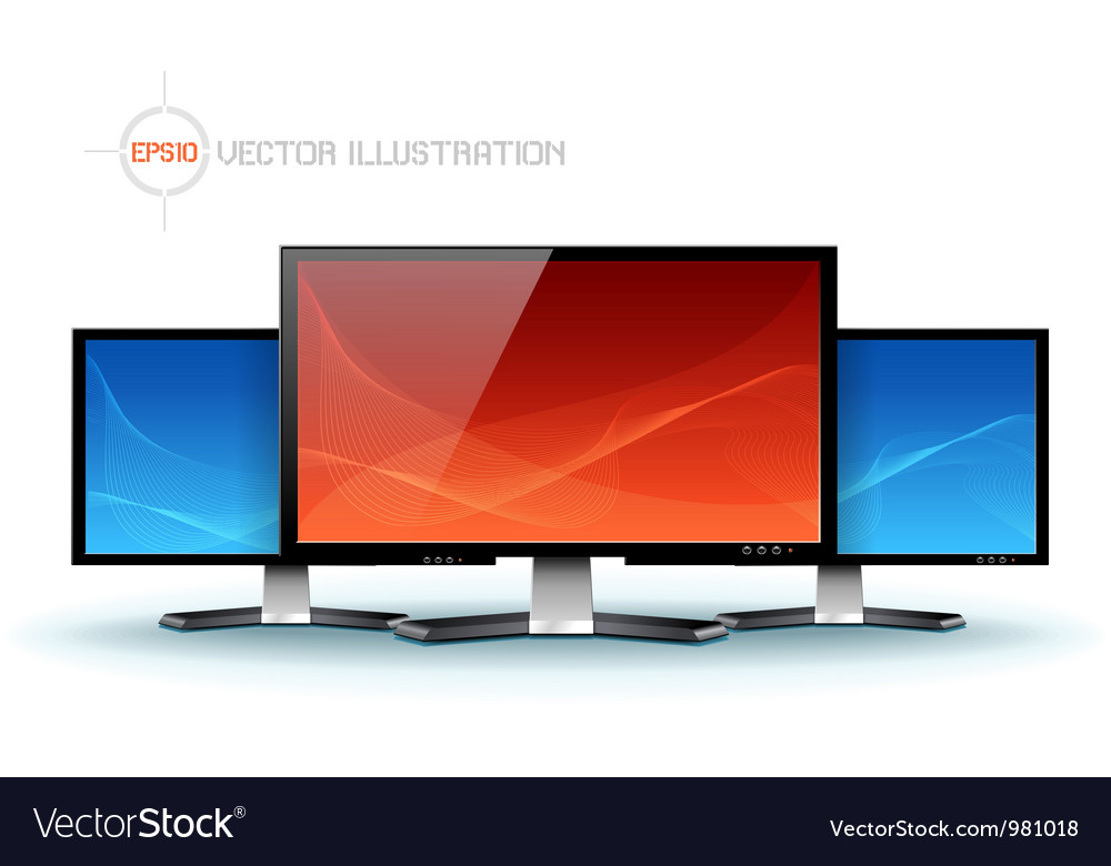 Flat lcd tv monitor vector | Price: 1 Credit (USD $1)