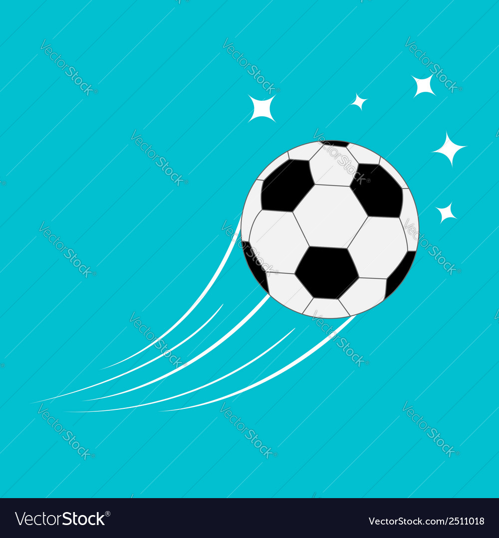 Flying football soccer ball motion trails stars 2 vector | Price: 1 Credit (USD $1)