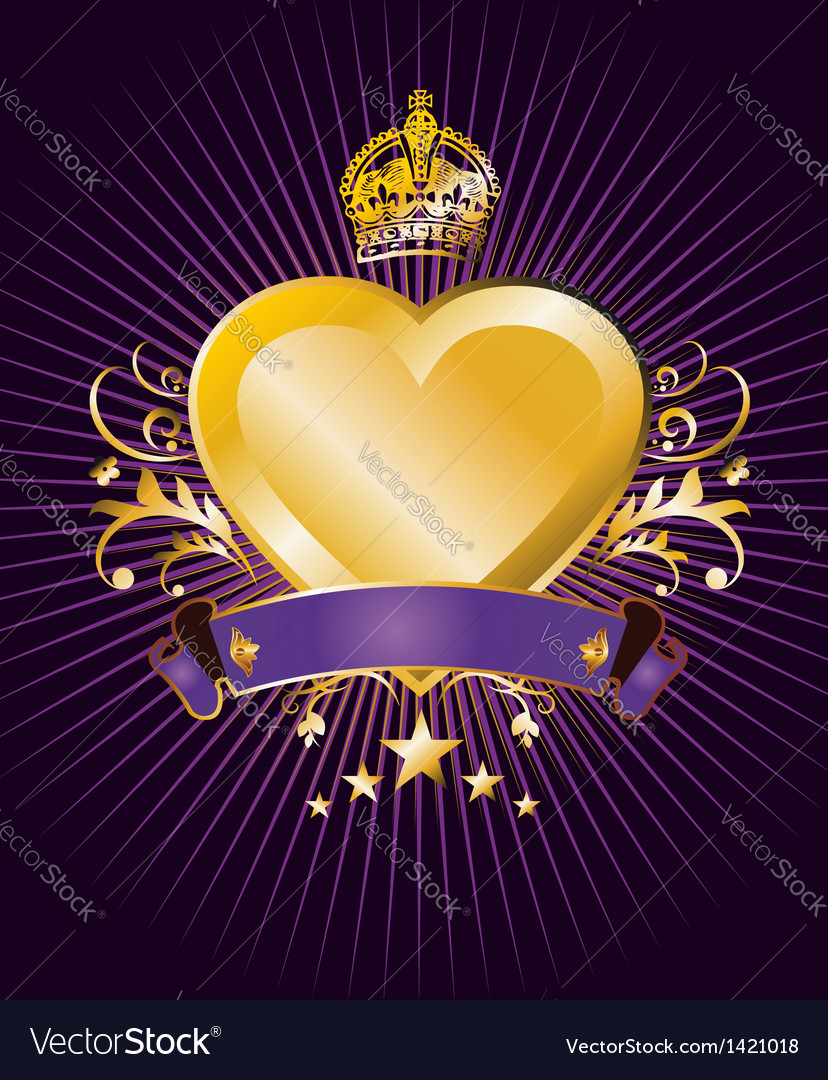 Golden heart label vector | Price: 1 Credit (USD $1)