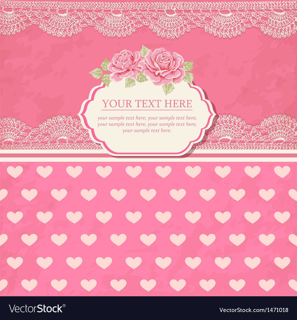 Greeting card vintage background with lace vector | Price: 1 Credit (USD $1)
