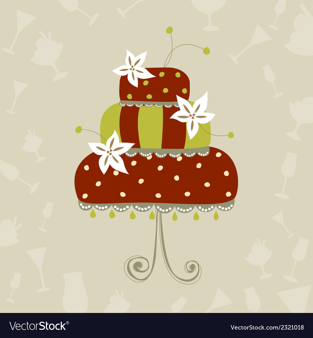 Greeting card with wedding cake vector | Price: 1 Credit (USD $1)