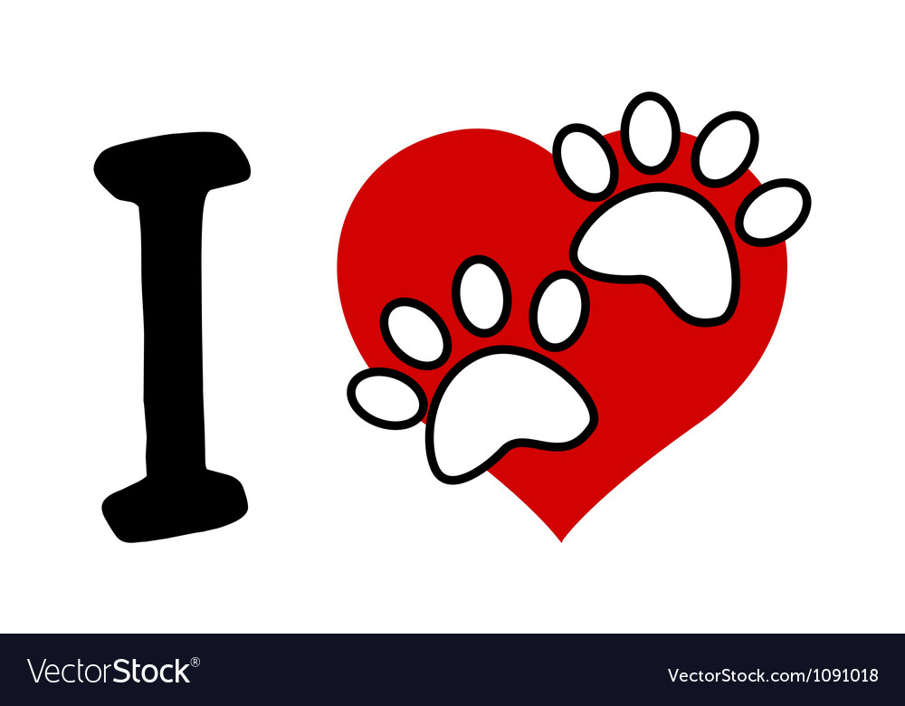 I love text with red heart and paw print vector | Price: 1 Credit (USD $1)