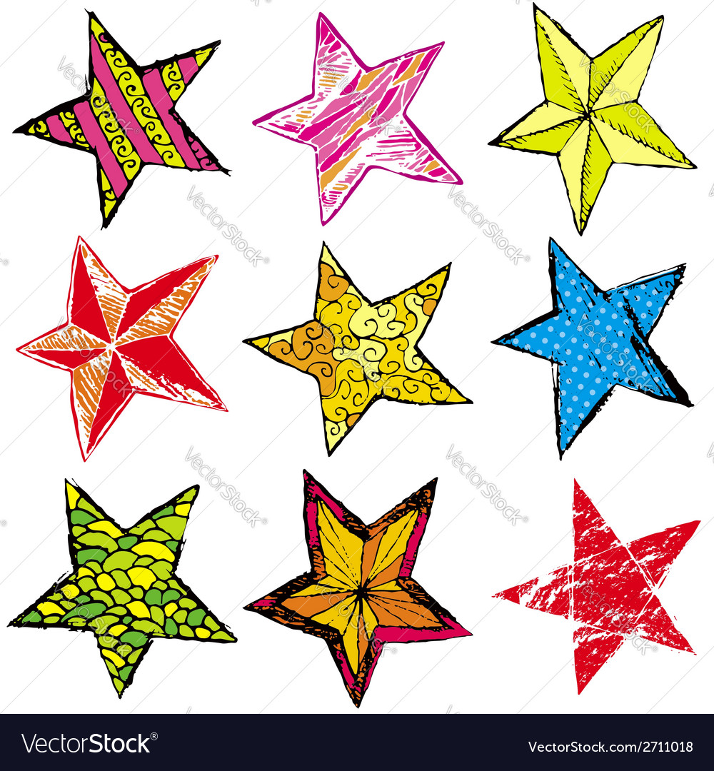 Nine hand draw christmas star vector | Price: 1 Credit (USD $1)