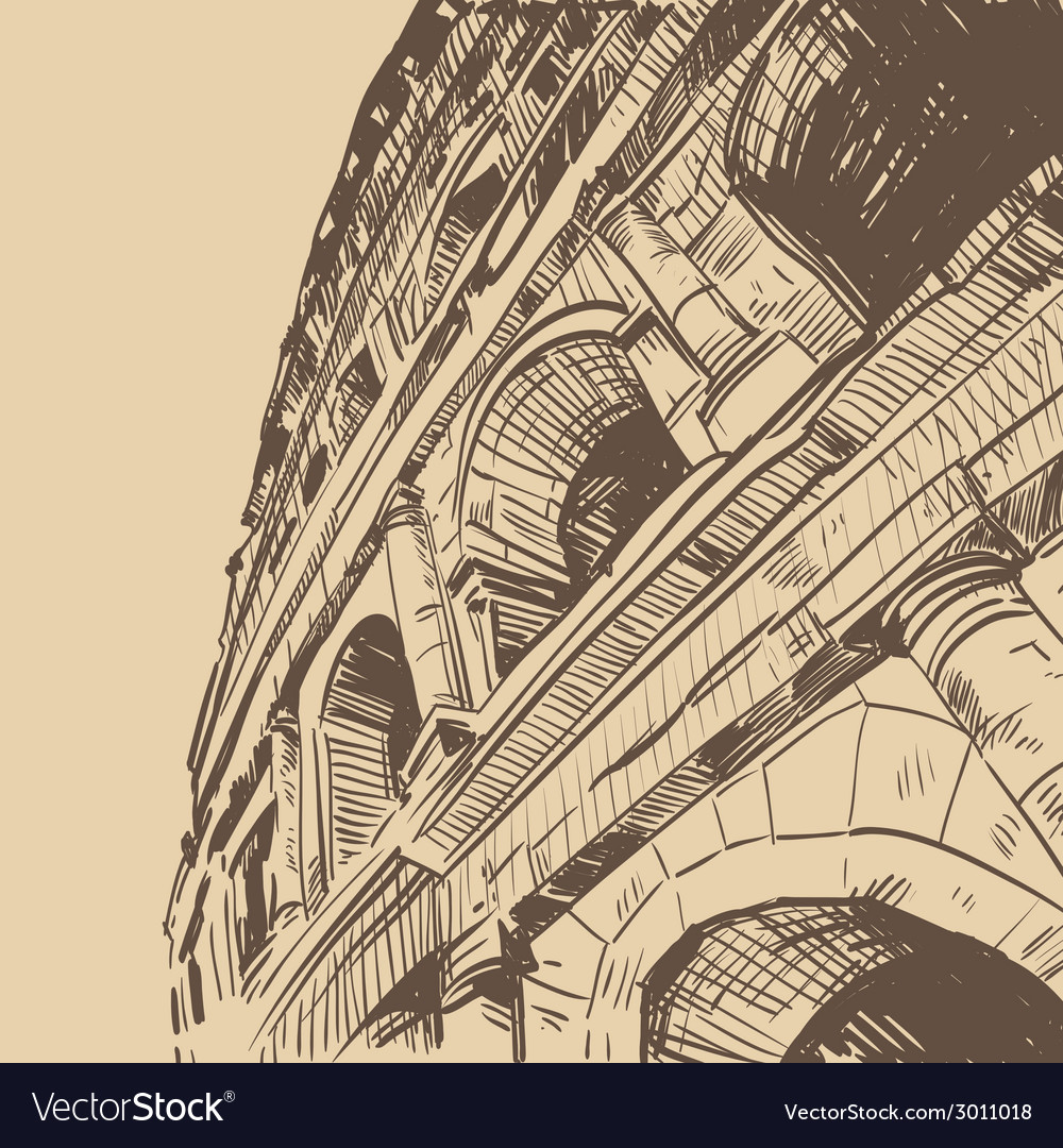 Rome coliseum drawing vector | Price: 1 Credit (USD $1)