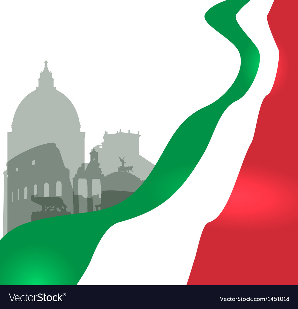 Rome with italian flag vector | Price: 1 Credit (USD $1)