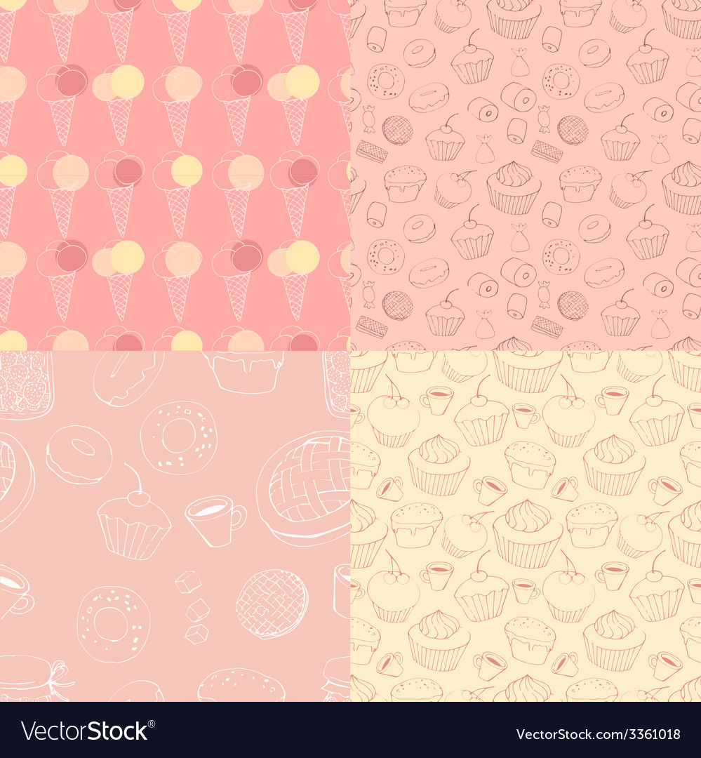 Seamless patterns with sweets vector | Price: 1 Credit (USD $1)