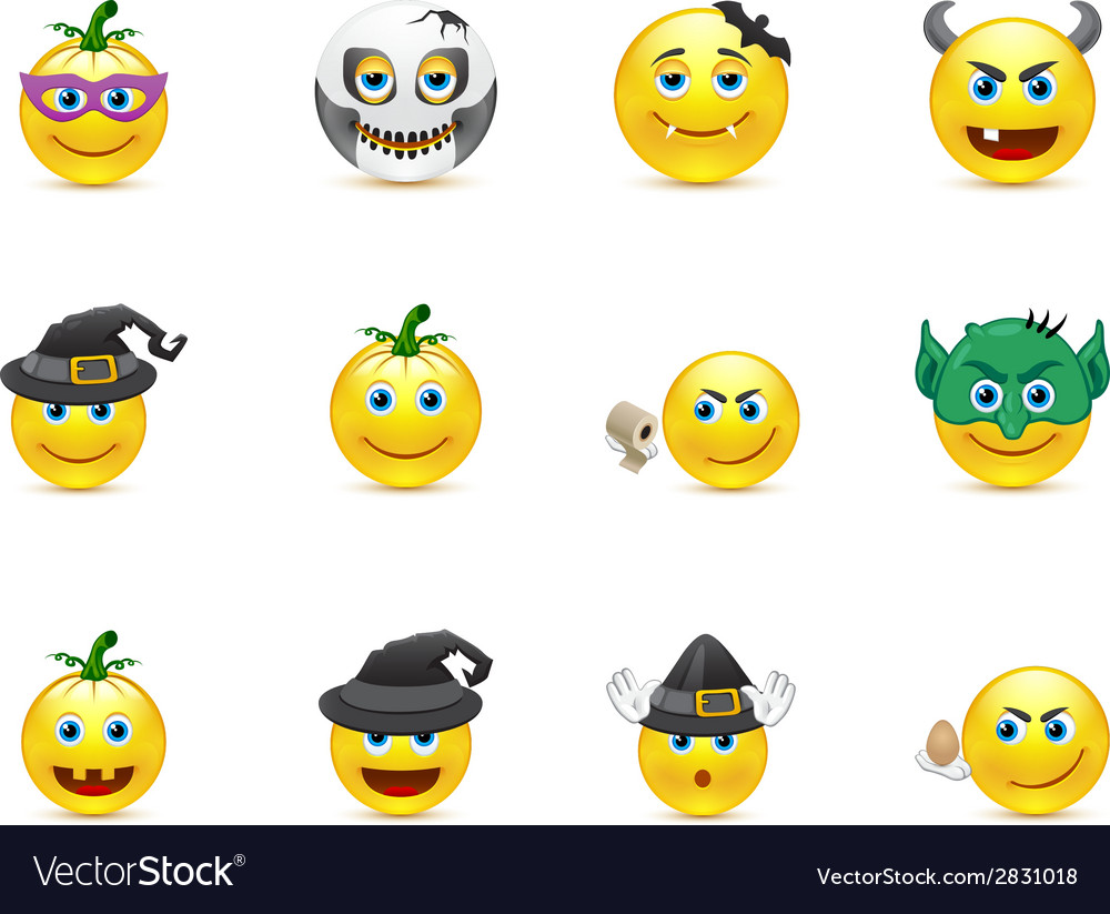 Smiley collection on a holiday halloween vector | Price: 1 Credit (USD $1)
