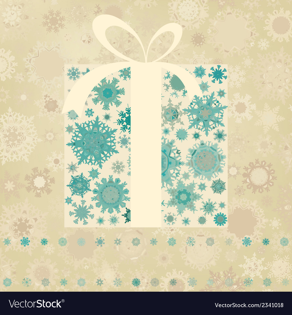 Vintage christmas card with gift box eps 8 vector | Price: 1 Credit (USD $1)