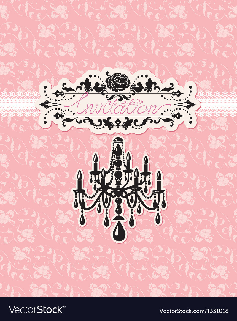 Wedding invitation card with luxury chandelier vector | Price: 1 Credit (USD $1)