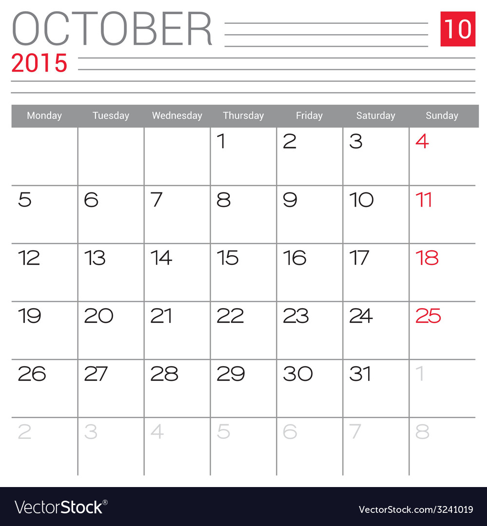 2015 october calendar page vector | Price: 1 Credit (USD $1)