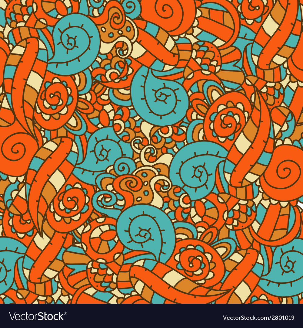 Abstract hand-drawn pattern retro colors vector | Price: 1 Credit (USD $1)